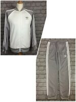 ADIDAS ORIGINALS MENS WHITE GREY POLY ZIP TRACK TOP/PANTS 3STRIPE SOLD SEPARTELY