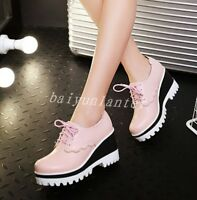 Fashion Womens Round Toe Wedge Platform Pumps Lace Up High Heels Casual Shoes Sz