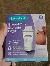 Lansinoh Breastmilk Storage Bags Pump Directly into Bags  Pack BPA Free New 50CT