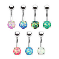 Opal Glitter Prong Set 316L Surgical Steel Belly Bar / Navel Ring