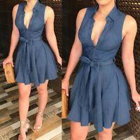 Women's Sexy Slim Mini Dress Lady Sleeveless Cardigan Ball Gown Tie Waist Dress