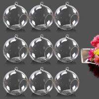 9 Pack Hanging Round Glass Terrarium Globe Ball Flower Vase Air Plant Pot Decor