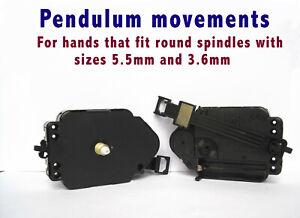 QUARTZ PENDULUM CLOCK MECHANISM MOVEMENT, Ø 5.5 & 3.6mm Push-On Hand-Fittings