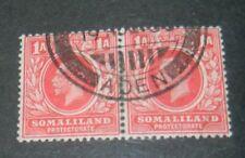 GEORGE V 1 ANNA SOMALILAND PAIR (with 'Aden' circular postmark)