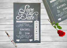Personalised Save The Date Cards X 10 Weddding Chalkboard Magnetic A6 SD24