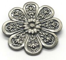 Signed Jewelart Flower Mid Century Vintage Sterling Silver Brooch Pin 925