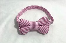 Bow Tie Boys Cotton fabric Seersucker Pink, adjustable strap