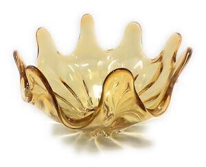 Vintage Mid Century Amber Glass Splash Design Bowl 8 Fingered