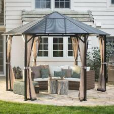 Patio Hardtop Gazebo 13 ft. Hexagonal Polycarbonate Outdoor Mosquito Netting