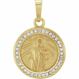 St. Jude Medal with Created White Sapphires In 14K Yellow Gold