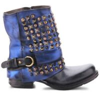Womens Round Toe 2Color Leather Punk Rivets Studs Ankle Boots Motorcycle Shoes