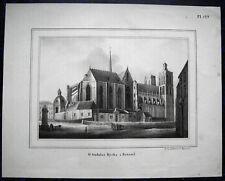 BRÜSSEL Bruxelles, St. Gudule - BELGIEN. Originale Lithographie 1836