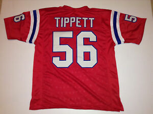 UNSIGNED CUSTOM Sewn Stitched Andre Tippett Red Jersey - M, L, XL, 2XL
