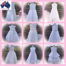 Girls Party Dress Flower Girl Holy Communion Pageant wedding Formal  white Dress