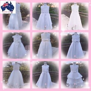Girls Party Dress Flower Girl Holy Communion Pageant wedding Formal  white Dress