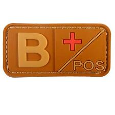 mud 3D B Pos blood type Pvc rubber airsoft army tan touch fastener patch