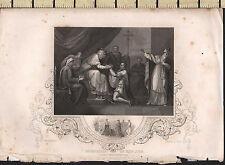 C1830 Antiguo impresión ~ presentación del Rey John ~ Celestes Cardenal Langton en Oxford