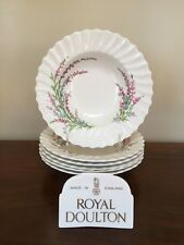 "Royal Doulton BELL HEATHER SCALLOPED 8 ¼""  Rim Soup Bowl ~ Set of 6  (lot 1)"
