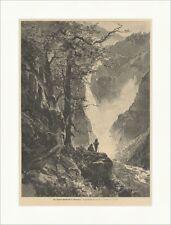 Der Rjukan Wasserfall in Norwegen Compton Wald Bäume Wanderer Holzstich E 14525