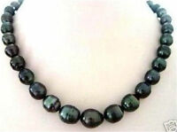 """New 9-10MM RICE BLACK CULTURED PEARL TAHITIAN NECKLACE 18"""" AAA"""