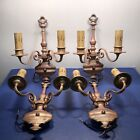 4 early American colonial/federal style red brass sconces  original patina 53F