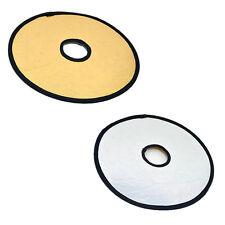 2 en 1 Réflecteur Diffuseur Toile Photo Pliable sur Objectif / 30cm Doré Argenté