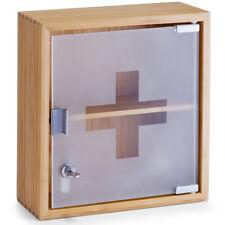 Medicine Cabinet Pharmacist Box Bamboo Wood Home Medical Supplies