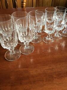 VINTAGE BAR SET FRENCH  CRYSTAL GLASSES 6 SHERRY & 5 WINE WEDDING PARTY GLASSES