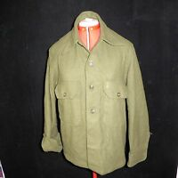 Medium Vintage 1951 US Army Wool Field Korean War Olive Green Authentic Shirt