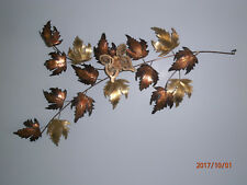 "Curtis Jere Autumn Leaves Sculpture With Butterfly 37"" Modern Wall Hanging"