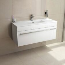Wall Hung Mounted Vanity Unit Ceramic Basin Sink White High Gloss Cabinet 1000mm