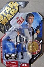 STAR WARS VINTAGE HAN SOLO w UGH ULTIMATE GALACTIC HUNT COLLECTOR GOLD COIN MOSC