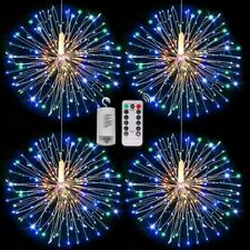 180 Led Firework Lights Waterproof Star Silver Wire Remote Control Decors Lamp