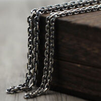 """Real Solid 925 Sterling Thai Silver Classical Cuboid Chain Men Necklace 18""""-32"""""""