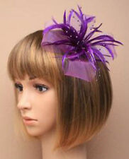 Purple Looped Net & Feather Fascinator Wedding Hair Clip Corsage Brooch