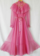 Vtg Union Made Romance Dress Chiffon Lace Trim Maxi Pink Size S/M