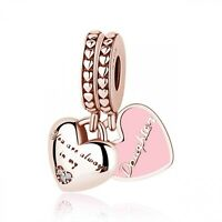 925 Sterling Silver Bead Charm Mother Daughter Pendant Charms Rose Gold Heart