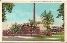 New Water Works and Filtration Plant in Bay City MI Postcard