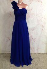 sz10-12 ROYAL BLUE CHIFFON EVENING PROM BRIDESMAID DRESS BALLGOWN CORSET BACK