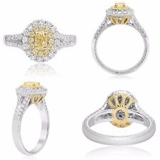 18K Gold Yellow Diamond Ring 1.06 TCW with 0.36 Carat Oval Size 6.5