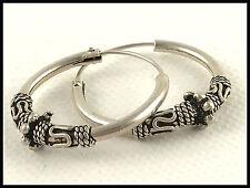 """Vintage .925 Sterling Silver, Decorative 1"""" Hoop Earrings, Inserting Wires"""