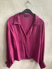🌺size 18👀* WINDSMOOR **👀Cerise Pink Pure Silk Long Sleeved 👚 Blouse Top