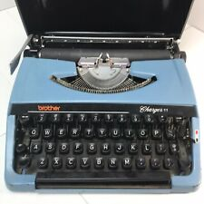 Vtg BROTHER Typewriter charger 11 Blue Steel w/case portable Japan
