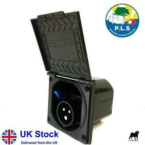 Mains Hook Up Inlet Socket Caravan VW Motorhome Flush Fitting Black - PO113B