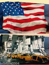 COPERTA PLAID soffice DOUBLE FACE calda micropile bandiera USA UK FR 210x230 cm