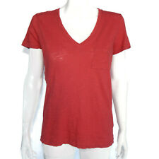 MADEWELL Whisper Cotton V-Neck Pocket Tee Red Rust Tissue T-shirt Top sz S 2962
