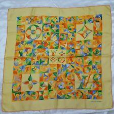 "LOUIS VUITTON Yellow Painted Monogram Print Silk Square Scarf 35"""