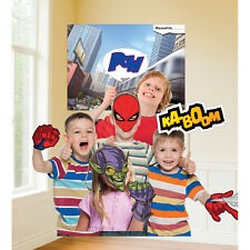 Spiderman Party Photo Wall Scene Setter Backdrop Decoration + 11 Photo Props