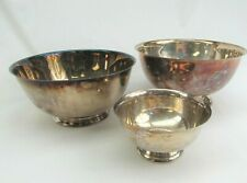 Silver Plate Bowl lot of 3 footed Oneida Towle Sheridan vintage trophy