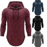 Men's Basic Long Sleeve Hoodie Hooded Tops Shirts Slim Muscle Casual Fit